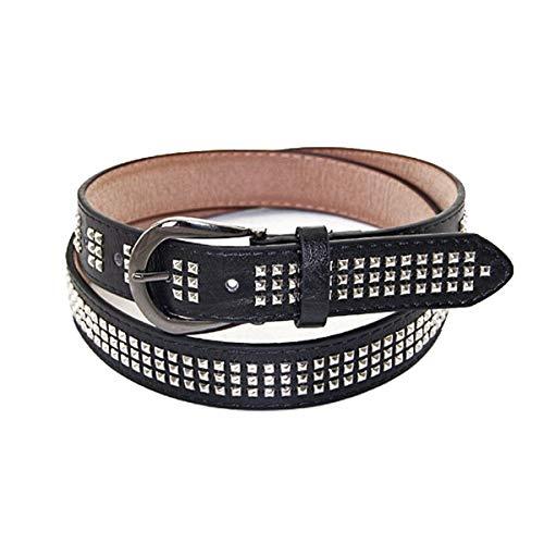 Trimming Shop Cinturón de Cuero - Color Negro - Punk Rock Inspirado D