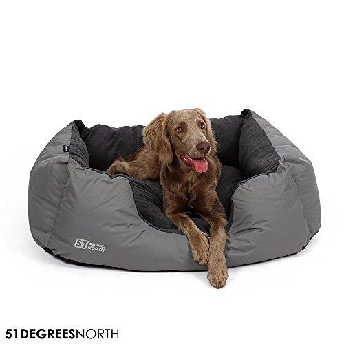 Cama para perros gris pequeños perros, perro cesta con cojín, Storm Collection de 51degrees North, impermeable resistente al agua impermeable lavable, Rocky Grey, Small S: 50x 40x 20cm