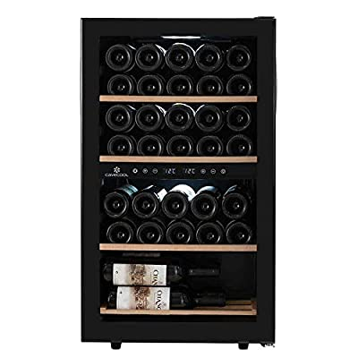 Cavecool freestanding wine fridge?Store and mature up to 34 bottles in a dual zone wine cooler ? Black wine cooler for your wine collection