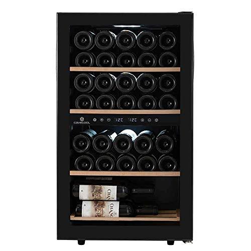 Cavecool Weinkühler für 34 Flaschen │ Weinkühlschranke mit twei Temperatuzonen │ Weinkühlschrank in Schwarz