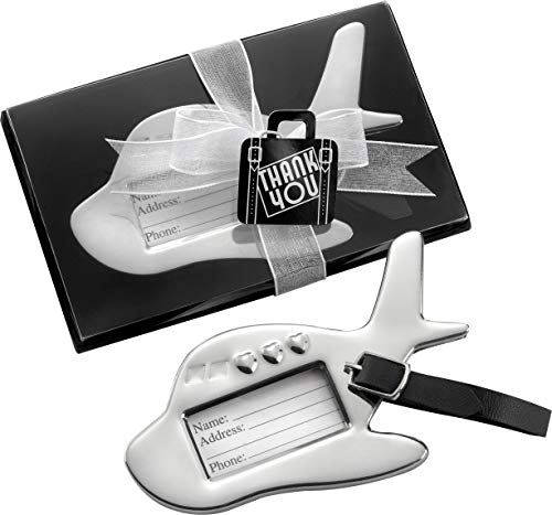 Kate Aspen Airplane Luggage Tag Bundle of 24, Silver