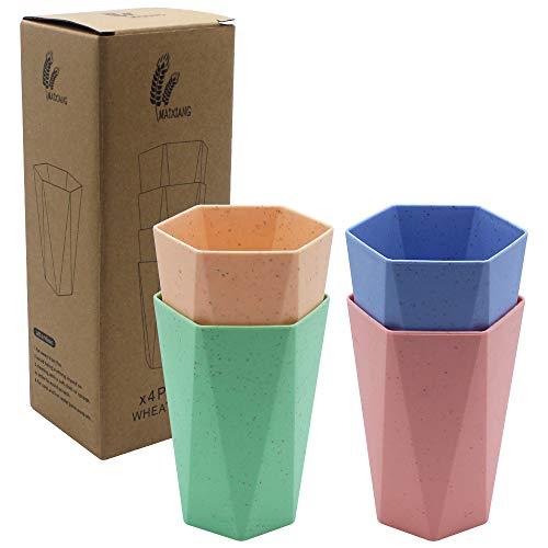 DXLing 4 Stück Weizenstroh Trinkbecher Vier Farben Zahnputzbecher Set Mundwasser Tasse Unzerbrechlich Wiederverwendbare Tasse BPA-frei Zahnbürste Tassen für Erwachsene und Kinder Spülmaschinenfest