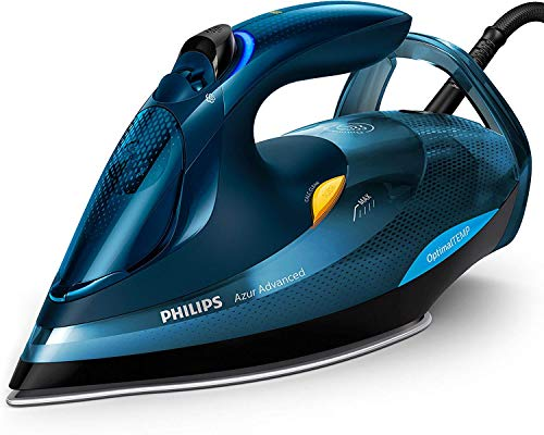 Philips GC4937/20 Azur Advanced – Plancha de Vapor 3000 W, OptimalTemp, Golpe de Vapor de 240 g, Sistema Calc-Clean, color Azul