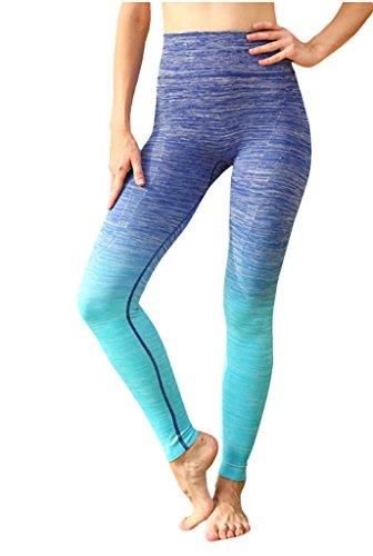Lotus Instyle Damen Yoga Hosen Farbverlauf Farbe Leggings Stretch Slimming Pants Gr. XXL, blau