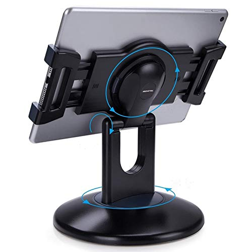 AboveTEK Retail Kiosk iPad Stand, 360° Rotating Commercial Tablet Stand, 6-13.5' Ipad Mini Pro-Business Tablet Holder, Swivel Design for Store POS...