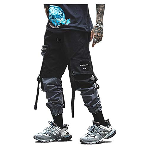Pantaloni Cargo Elasticizzati da Uomo, Stile Atletico Vintage, Stile Atletico, Comodi, Effetto Lavato Sportivi Multi-Tasca Neri da Uomo Casual Street