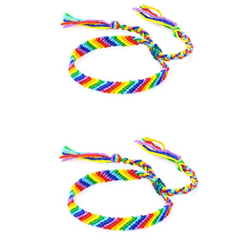 Rainbow Pride Cotton Rope Bracelet Handmade Braided Adjustable Friendship String Wristband Bracelet Bangle for Women Men Unisex Gifts Gay Lesbian-2 Colorful