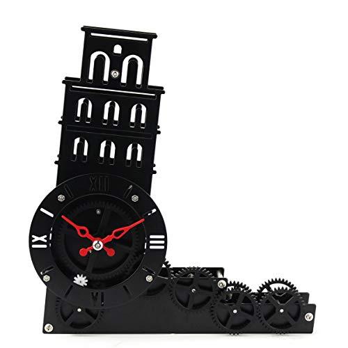 LZDD Reloj Decorativo Torre Inclinada de Pisa rotatorio Reloj de Campana del Reloj de Engranaje de la Moda Creativa Ornamentos Personalizados del Arte (Color : Black)