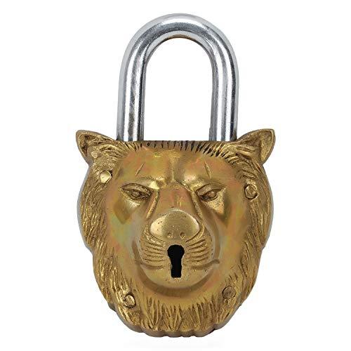 Zap Impex ® Handgemachte Messing Künstlerische Vorhängeschloss Schloss mit einem Löwengesicht