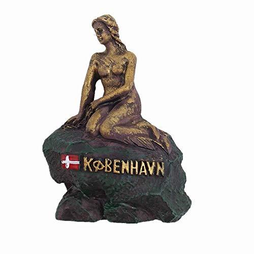 Magnete da frigo con Sirenetta di Copenhagen, Danimarca, in 3D, souvenir regalo, decorazione per casa, cucina e frigorifero