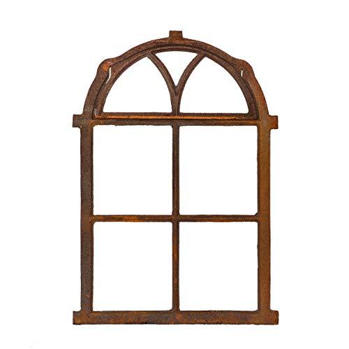 Antikas | klappbares Eisenfenster in antiken Stil | Höhe ca. 75 cm - Breite ca. 50 cm | Fenster für Stall- und Gartenmauer | Fensterrahmen aus Gusseisen