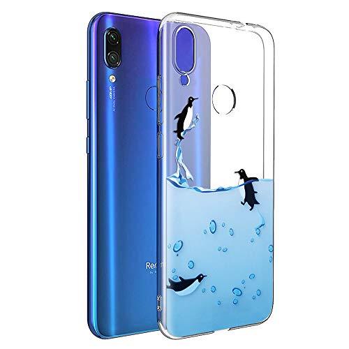 ZhuoFan Funda Xiaomi Redmi Note 7, Cárcasa Silicona Transparente con Dibujos Diseño Suave TPU Antigolpes de Protector Piel Case Cover Bumper Fundas para Movil Xiao mi Redmi Note7, Pingüinos