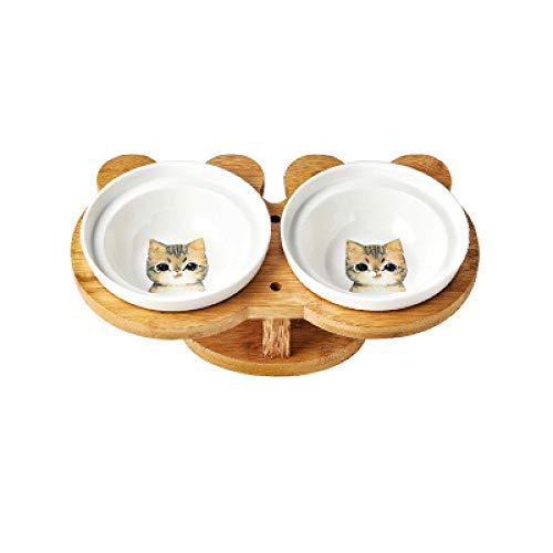 MYYXGS Neue HöLzerne Keramische Katzenschale Doppelschale Futterwasserschale SchutzrüCken Hoher FußNeigung Haustierfutterautomat