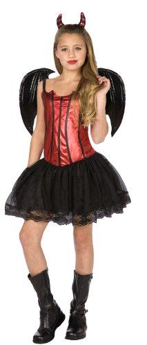 KULTFAKTOR GmbH Teufelinnen Halloween Kinder-Kostüm rot-schwarz 140/152 (10-12 Jahre)