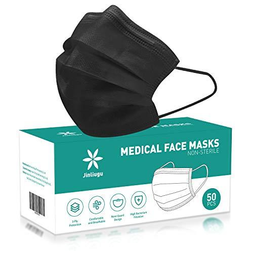 50 PCS Gesichtsmaske Einweg-Gesichtsmaske mit 3 Schichten , Schutz der Nasen- und Mundabdeckungen mit 3-lagigem Sicherheitsschild