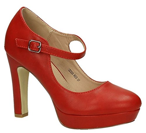 Klassische Trendige Damen Mary Jane Riemchen Pumps Stilettos Party High Heels Plateau Schuhe Bequem 20 (38, Rot)