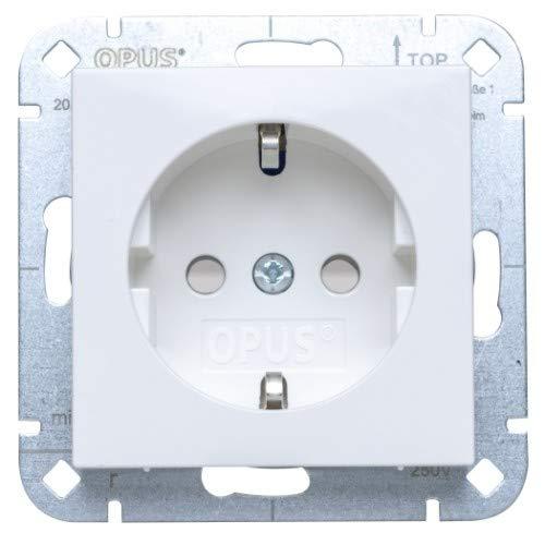 OPUS® 55 Schutzkontakt-Steckdose premium mit Berührungsschutz Farbe polarweiß-seidenmatt
