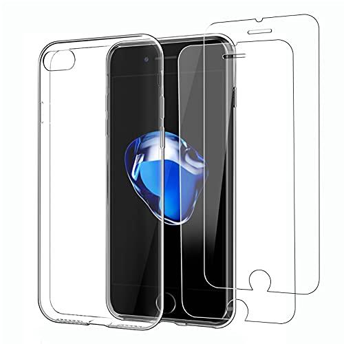"""NEW'C Coque pour iPhone 7, iPhone 8 (4.7"""") Ultra Transparente Silicone en Gel TPU Souple et 2 × Verre trempé pour iPhone 7, iPhone 8 Film Protection écran"""