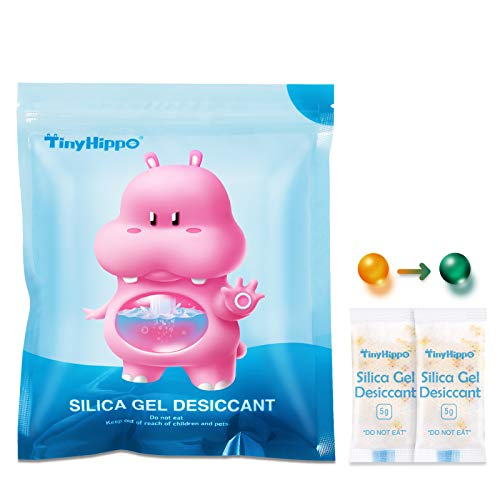 TinyHippo 5 Gram [80 Packets] Reusable Silica Gel Packs for Storage, Food Safe Desiccant Bags with Orange Indicating, Moisture Absorbers for Drying Gun Spices Shoe Boxes Electronics and More