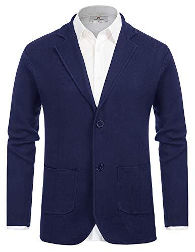 Men's Button Down Shawl Collar Cardigan Sweater Knit Blazer Royal Blue L