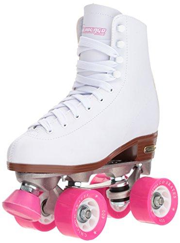 Chicago Skates Women's Classic Roller Skates - Premium White Quad Rink Skates - Size 7, Model:CRS40007