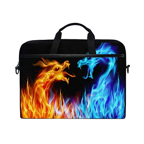 WXLIFE Abstract Fiery Dragon Print 13 13.3 14 Inch Laptop Shoulder Messenger Bag Case Sleeve Briefcase with Handle Strap for Men Women Boys Girls