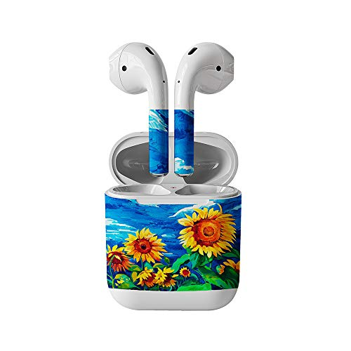 Skin Decals for Apple AirPods-Oil Painting Sunflower-Sticker Wrap Fits 1st Generatio