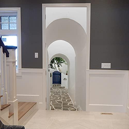 Moderna decoración del hogar en 3D, pegatinas blancas para puertas de arcade, papel tapiz impermeable de PVC, pegatinas de pared para póster de puerta artística para dormitorio