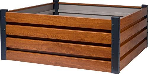 dobar 58267e Quadratisches Hochbeet für den Garten, Pflanzkasten mit Holzmuster, 100 x 100 x 40 cm, Metall, Braun