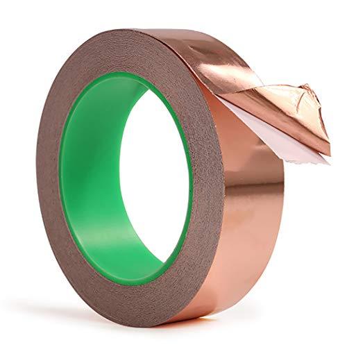 JUSTDOLIFE 65.6ft koper folie tape zelfklevende hittebestendige geleidende tape afscherming tape