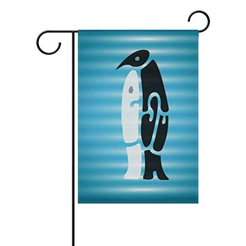 DEZIRO Geweldige Pinguïn Knuffel yard vlag aangepaste Tuin Vlag Dubbele Zijde 28x40(in) 1 exemplaar