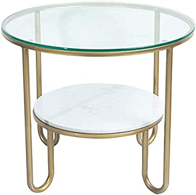FJFXCJ Contemporary Round Coffee Table Leisure Accent Table Sofa Cocktail Table for Home,Tempered Glass and Marble Top X8C1J6