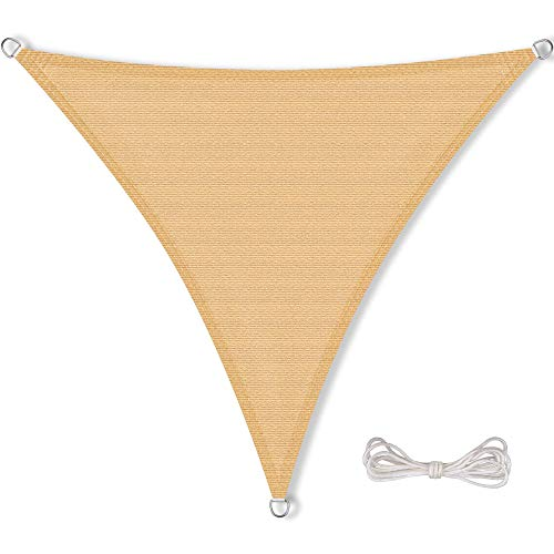 CelinaSun Sonnensegel inkl Befestigungsseile HDPE wetterbeständig atmungsaktiv Dreieck 3 x 3 x 3 m Sand beige