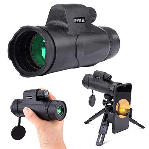 Telescopio monocular, monocular de prisma BAK4 impermeable de alta potencia HD de 10 x 42 con soporte para teléfono y trípode para observación de aves, caza, camping, viajes, vida silvestre