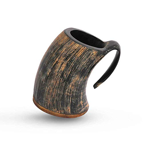 Present for Fathers Day Manly Men - Viking Tankard Drinking Horn Mugs Beer Stein 20 Oz Goblet Unique Gifts (Naturally Rustic)