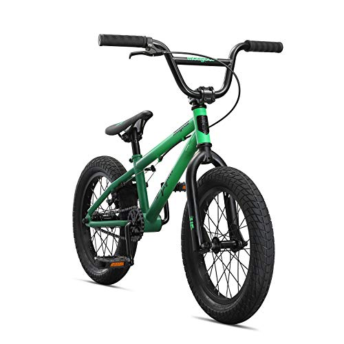 Mongoose Legion L16 Freestyle Sidewalk BMX Bike for-Kids,-Children and Beginner-Level to Advanced Riders, 16-inch Wheels, Hi-Ten Steel Frame, Micro Drive 25x9T BMX Gearing, Green (M41600U10OS-PC)
