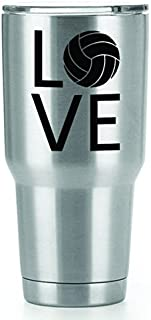 Volleyball Love Vinyl Decals Stickers ( 2 Pack!!! ) | Yeti Tumbler Cup Ozark Trail RTIC Orca | Decals Only! Cup not Included! | 2 - 3 X 2.2 inch Black Decals | KCD1222