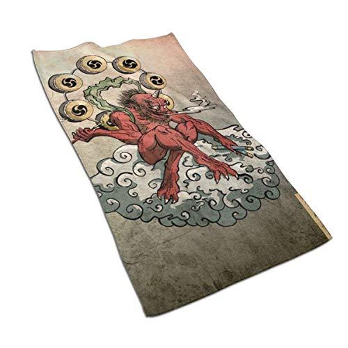 QHMY Japanischer Malstil Böse Geister, Götter, Wolken, Mikrofasertücher 27,5 \'x 17,5\' Polyester Persönlichkeit Lustiges Muster Super Absorbent für Badezimmer, Küche, Waschauto, Reinigungstuch