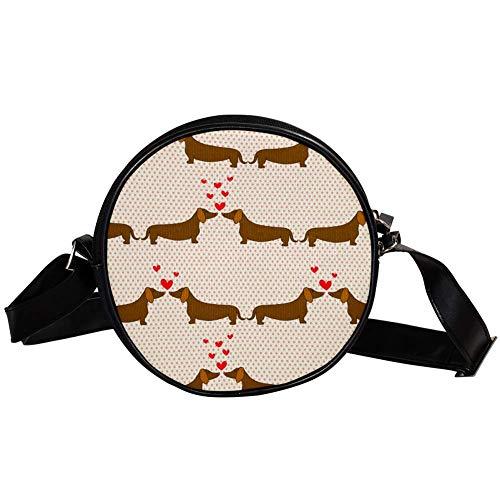 Bolso cruzado redondo pequeño para mujer, de moda, de lona, con diseño de perros de dibujos animados sobre fondo de lunares