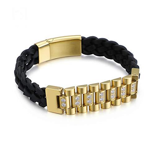 Punk Woven Leather Wrap Bracelet Herren 22cm Edelstahl Gold Bike Chain Charm Zirkon Armbänder