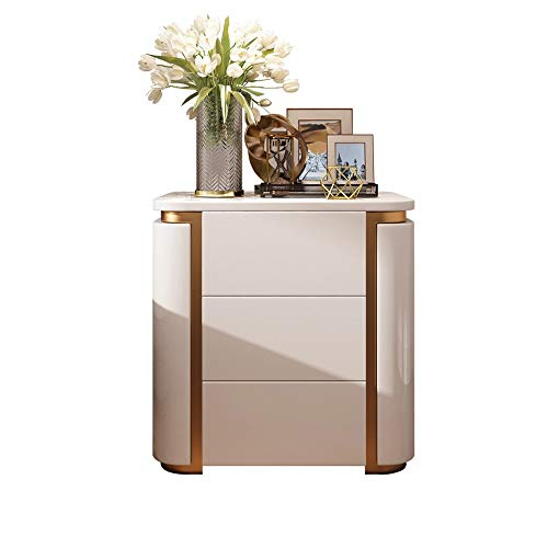 Big Save! DHINGM 3 Drawer Bedside Table, Nordic Light Luxury Modern Minimalist Bedroom Furniture Sta...