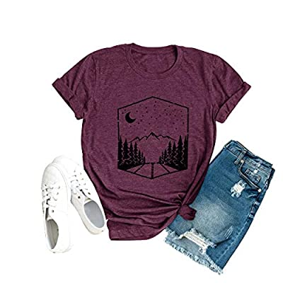 Anbech Sunrise Sunset Organic Camping Hiking Mountain T Shirts Women Travel Short Sleeve Tee Tops Purple