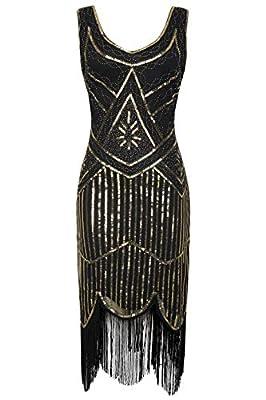 BABEYOND Women's Art Deco V Neck 20s Gastby Fringed Sequin Flapper Dress