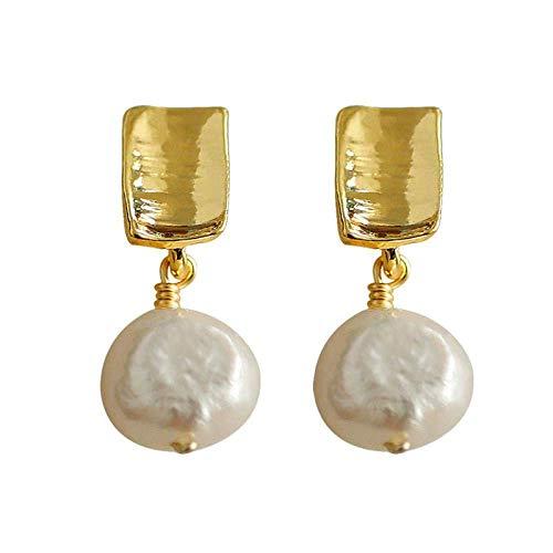 ZLININ Y-longhair antiguo hecho a mano barroco perlas de agua dulce pendientes franceses pequeños pendientes Tanabata