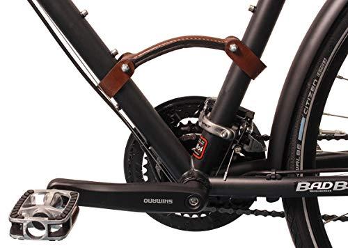 Gusti Transportgriff Leder - Franck B. Fahrradträger Fahrradrahmen-Tragegriff Griff Rennrad Aluminiumrahmen Braun