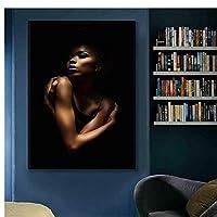 セクシーな黒のヌードアフリカの女性のキャンバスの絵画のポスターとプリント壁の芸術の写真のリビングルームの家の装飾-60x90cmx1フレームなし