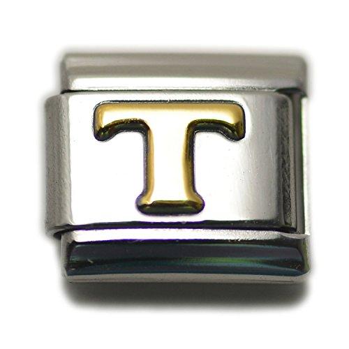 Dolceoro Letter Initial Alphabet T Italian Modular Charm Bracelet Link, 9mm Type Link Size - Stainless Steel