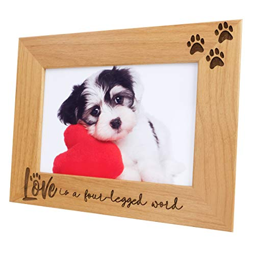 Love is a Four-Legged Word-Natural Wood Engraved Pet Picture Frame with Glass,Dog Picture Frame,Cat Picture Frame,Dog Mom,Cat Dad,Paw Print,Pet Memorial Picture Frame,Pet Lover Gift (5x7 Horizontal)