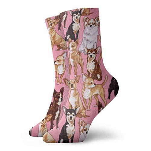 Elsaone Calze Chiwawas Dog Pink Crew Calze Sportive da donna stampate per uomo e donna 30 cm / 11,8 pollici