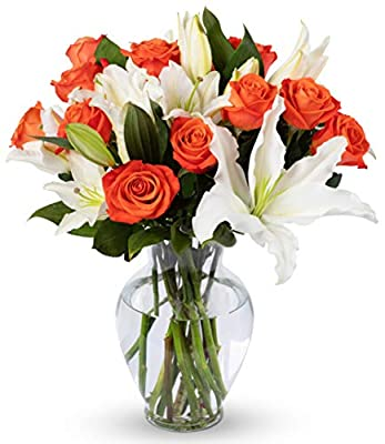 Benchmark Bouquets Orange Roses and White Oriental Lilies, With Vase (Fresh Cut Flowers) by Kendal Floral Supply Llc - Dropship